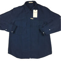 RM Williams Womens Grazier Shirt 100% Silk Long Sleeve Blue Size 12 RRP $199