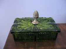 Rare Green Cigarette Box w Lid Two Matching Ash Trays