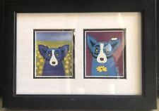 "SIGNED GEORGE RODRIGUE DUO BLUE DOG NOTE CARDS - FRAMED - 14"" x 10"" FREE SHIPING"