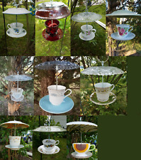 Handmade Unique Tea Cup Bird Feeder Art 100% for Animal Charity
