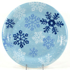"""Target Home WINTER FROST SNOWFLAKES 10.75"""" Dinner Plate Christmas Blue White"""