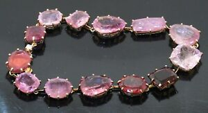 H. Stern 18K gold amazing 85.05CTW VS1/F diamond & Pink tourmaline link bracelet