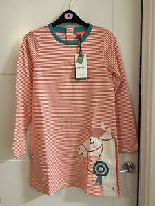 Joules Girls Bnwt Rosalee Pink Horse Pony Print Shift Dress Size 11-12 Years