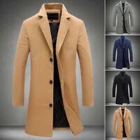 HOMME Business Veste d'HIVER DE COSTUME chaud Slim coupe laine TRENCH MANTEAU