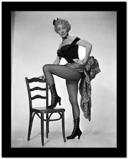 Marlene Dietrich standing One Leg in Black Lingerie with One Leg Stepping on Cha