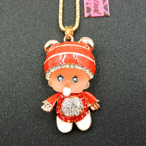 Red Cute Rhinestone Hat Pacifier Baby Pendant Betsey Johnson Chain Necklace