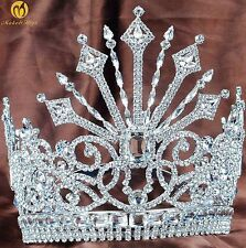 """Fantastic 7"""" Large Floral Tiara/Crown Queen Beauty Pageant Party Hair Jewelry"""