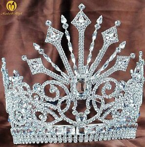"Beauty Pageant Tiara 7"" Large Contoured Crown Crystals Headband Bridal Jewelry"