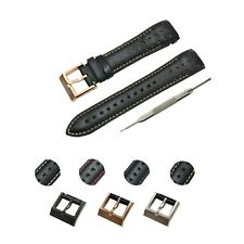 Comp. Seiko Sportura Watches 21mm Black(Multi Color) Genuine Leather Watch Strap
