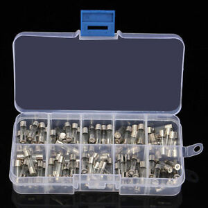100pcs Set 5x20mm Quick Blow Glass Tube Fuses Amp 0.25~6A 100pcs Set