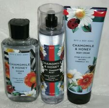 3 Bath & Body Works CHAMOMILE & HONEY Fine Mist Spray Body Cream Shower Gel