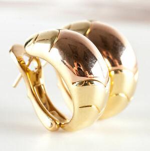 18k Yellow & Rose Gold Bulgari Huggie Omega Back Earrings 17.2g