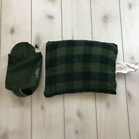 "LL Bean Camp Pillow Green Plaid Flannel Stuff Sack 14"" x 18"""