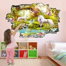 Unicorn Fairytale Fantasy Forest 3D Wall Sticker Art Mural Wallpaper Poster AZ37