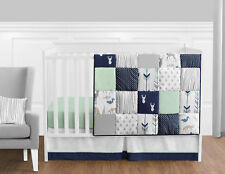 Bumperless Navy Blue Grey Forest Deer Arrow Baby Boy Nursery Crib Bedding Set