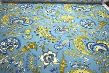 7 YDS COLONIAL WILLIAMSBURG GRAND PALAPORE PEACOCK HOME DECOR UPHOLSTERY FABRIC