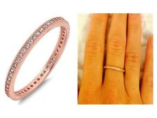 Rose Gold CZ Milgrain Eternity Bridal Stackable Wedding 925 Ring Band Size 8