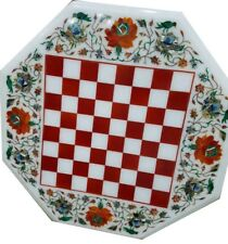 """18"""" chess game Table Top pietra dura  handcrafted inlay work decor"""