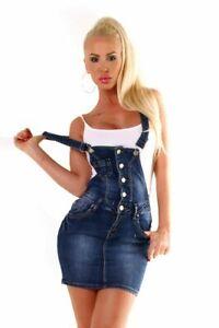 10693 Damen Jeans Rock Latzrock Minirock Trägern Jeans Denim Streetwear