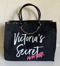 NEW! VICTORIA'S SECRET New York BLACK SIGNATURE SHOPPER TRAVEL GETAWAY TOTE BAG