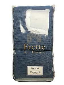 Frette At Home Porfido Queen Diamond Knit Coverlet Blue 100% Cotton 95x102 $350
