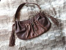 "MEXX Brown Leather Handbag Tassel Shoulderbag woman medium size bag 18"" 40cm"