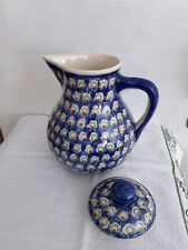 Bunzlauer Keramik Krug Saftkrug Milchkrug mit Deckel 1,8 Liter Muster 2 NEU
