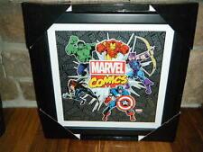 "MARVEL COMICS AVENGERS GLASS 3D SHADOW BOX 13"" HULK IRON MAN CAPTAIN AMERICA +"