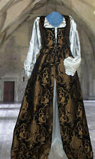 BLACK RENAISSANCE COSTUME ALL BROCADE Empire dress only ANY SIZE SMALL TO PLUS