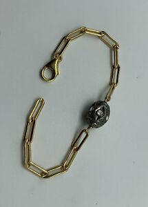 Pave white topaz Goldfilled paper clip chain bracelet