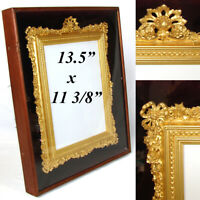 "Antique Victorian 13.5"" Shadow Box Style Picture Frame, Exq Gilded Inner Frame"