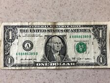 SOLID FIRST QUAD 8888 FIVE of a KIND in $1 Dollar Bill, FANCY SERIAL NUMBER NOTE