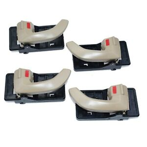 4Pcs Inside Door Handle Beige Left & Right LH RH For 2005-2009 Hyundai Tucson
