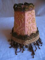 Victorian style pink lamp shade hand made with glass beads