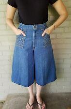 Vintage 1970's High Waist Denim Culottes Wide Leg Pants Size 29 Jeans Gaucho