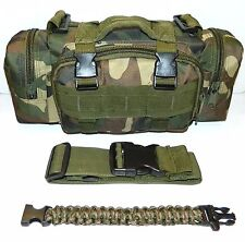 Woodland Camo Molle Military Tactical Utility Pouch & Paracord Whistle Bracelet