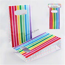 RAINBOW PARTY BAGS STRIPE POLKA DOTS 6PK FAVOUR LOLLY TREAT BIRTHDAY GIFT PAPER