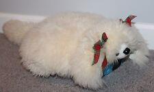 "Alpaca Hair? Leather Dog Pillow Plush White Furry Fuzzy Stuffed Puppy 24"" Unique"