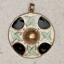 Celtic Cross Medalion-Bronze/Medieval/Enamel/Irish/Pendant/Jewelry