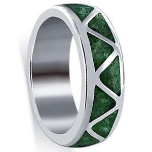 Sterling Silver Malachite Gemstone Southwestern Style Wedding Band Ring