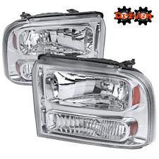 05-07 Ford F250 F350 Super Duty Chrome Housing Headlights w/Amber Reflector OE