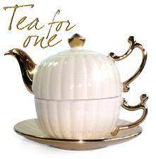 "Teekanne und Tasse Keramik Shabby Chic Set ""Goldmaid"" golden - beige ""Tea for on"