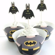 12x Batman Cupcake Topper + Wrapper. Party Supplies Lolly Bag *HANDMADE*