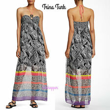 TRINA TURK Belize Tribal Swimsuit Cover Up Halter Smocked Maxi Dress NWT 14 $428