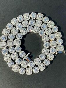 Men's Baguette Tennis Chain Real Solid 925 Silver Iced Fully Flooded Out Diamond