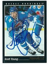 Autographed 1993-94 Pinnacle SCOTT YOUNG Nordiques Card #129 w/Show Ticket