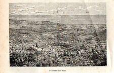 Stampa antica ETNA veduta panoramica dal vulcano Catania Sicilia 1897 Old Print