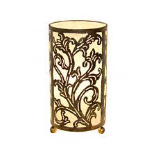Large Cream Bedside Fabric Lamp Hand Carved Metal Leaf Design Fair Trade