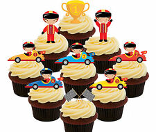 Racing Cars - Edible Cupcake Toppers 36 Standup Fairy Cake Decorations Kids Boys