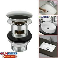 Chrome Oval Shaped Basin Sink Tap Push Button Pop Up Click Clack Waste Plug UK